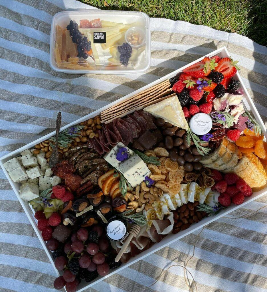 Closeup of cheese platters