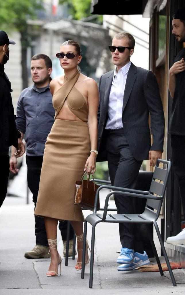 After being invited by President Macron at the Elysee Palace, Hailey Baldwin and Justin Bieber had lunch at the Dinand by Ferdi restaurant in Paris on June 21, 2021. 21 Jun 2021 Pictured: Hailey Baldwin and Justin Bieber. Photo credit: KCS Presse / MEGA TheMegaAgency.com +1 888 505 6342 (Mega Agency TagID: MEGA764117_009.jpg) [Photo via Mega Agency]