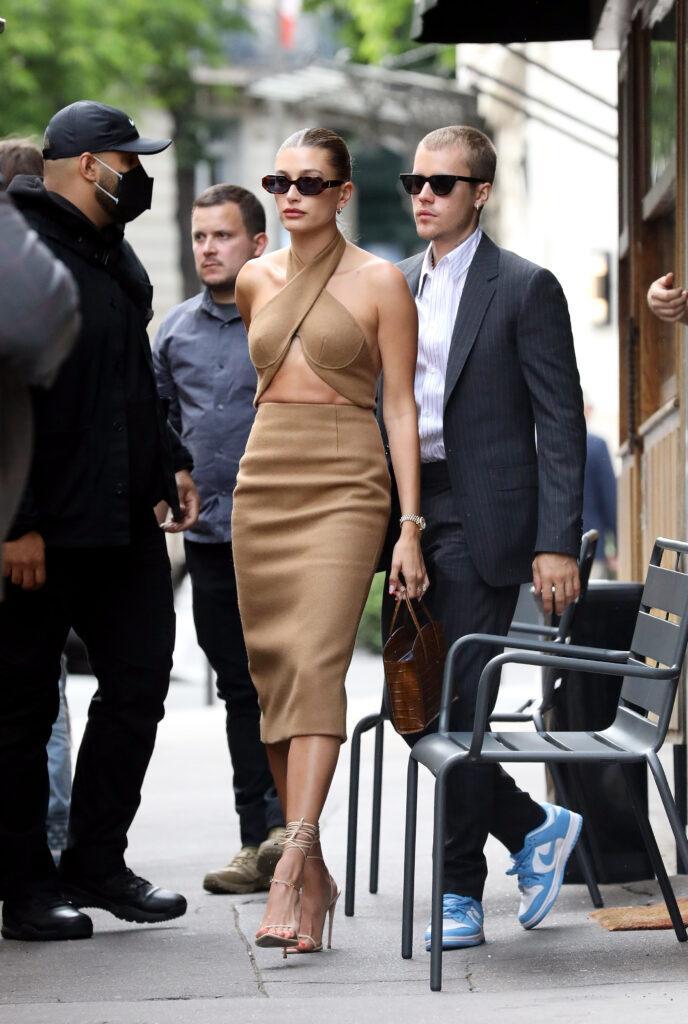Justin and Hailey Bieber walking in Paris.