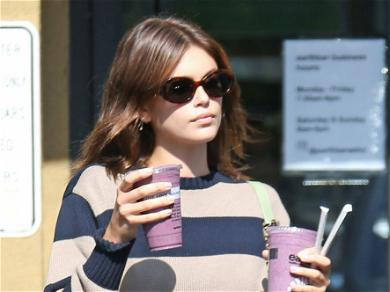 Kaia Gerber Wears Down To Earth Suede Clogs For Smoothie Run To EarthBar In Hollywood