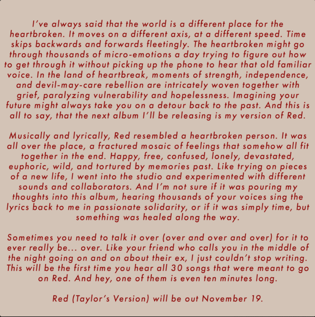 """Taylor Swift's announcement of """"Red Taylor's Version"""""""