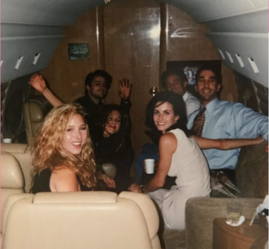 The cast of Friends on a private jet