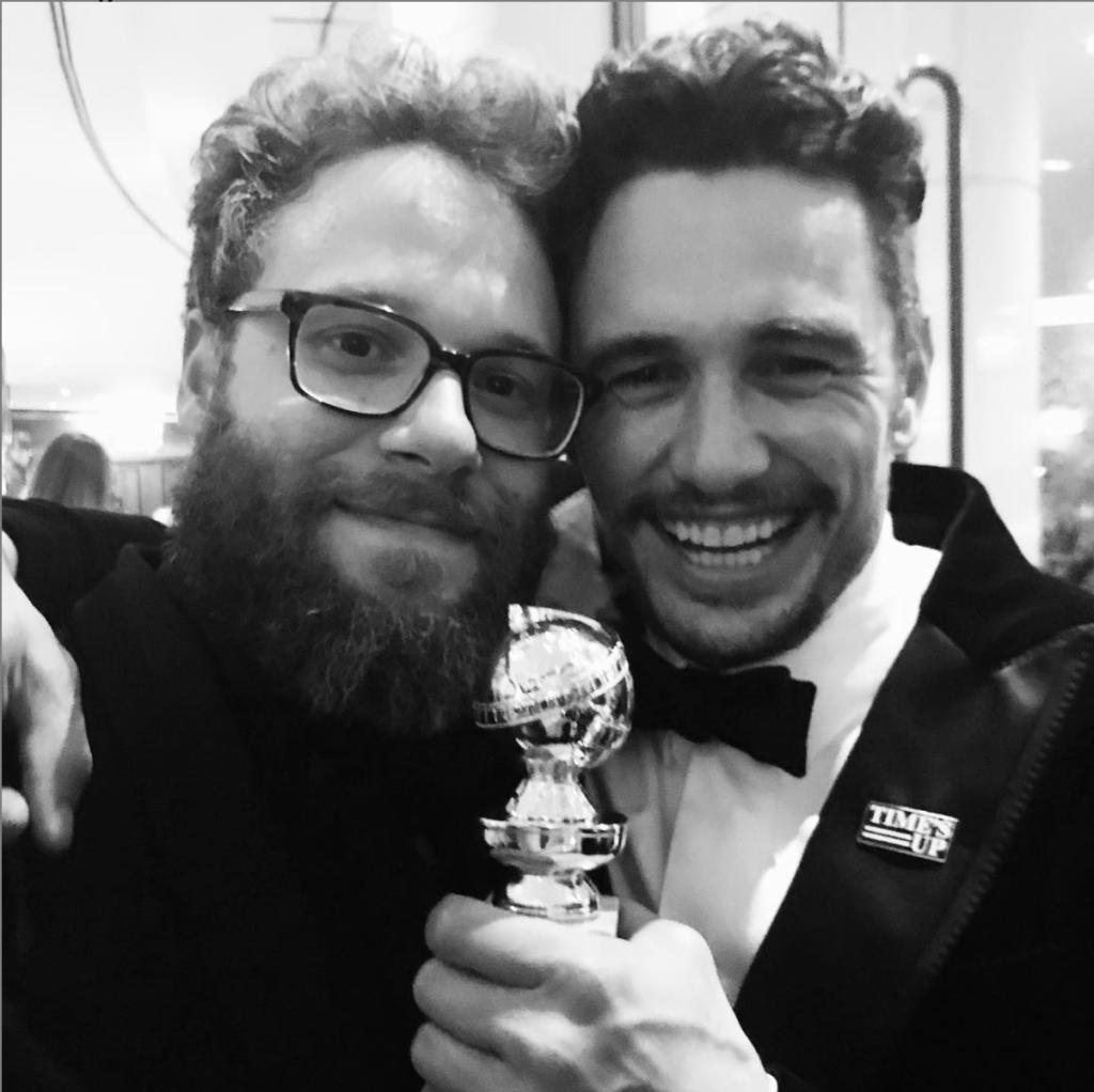 Seth Rogen & James Franco celebrating the Golden Globes
