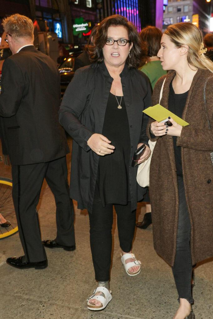 Rosie O apos Donnell and Uzo Aduba are seen arriving at Sunday In The Park With George opening held at the Hudson Theatre on Broadway New York City