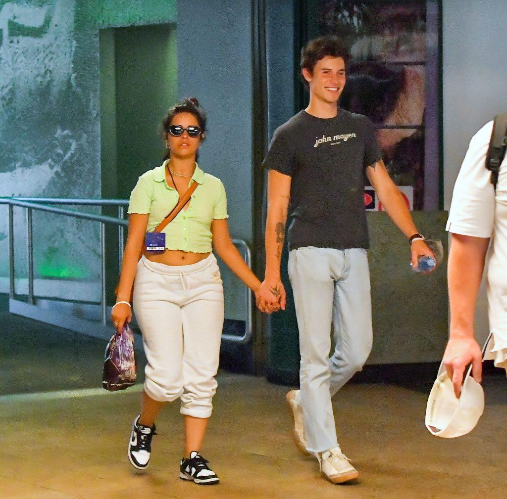 Shawn Mendes and Camilla Cabello hold hands as they enjoy a romantic day out at Universal Studios Hollywood