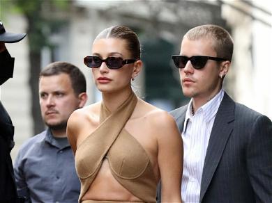 Biebers In Paris! Justin Rocks Blue Nike Dunks & Suit On The Parisian Streets; Hailey Stuns