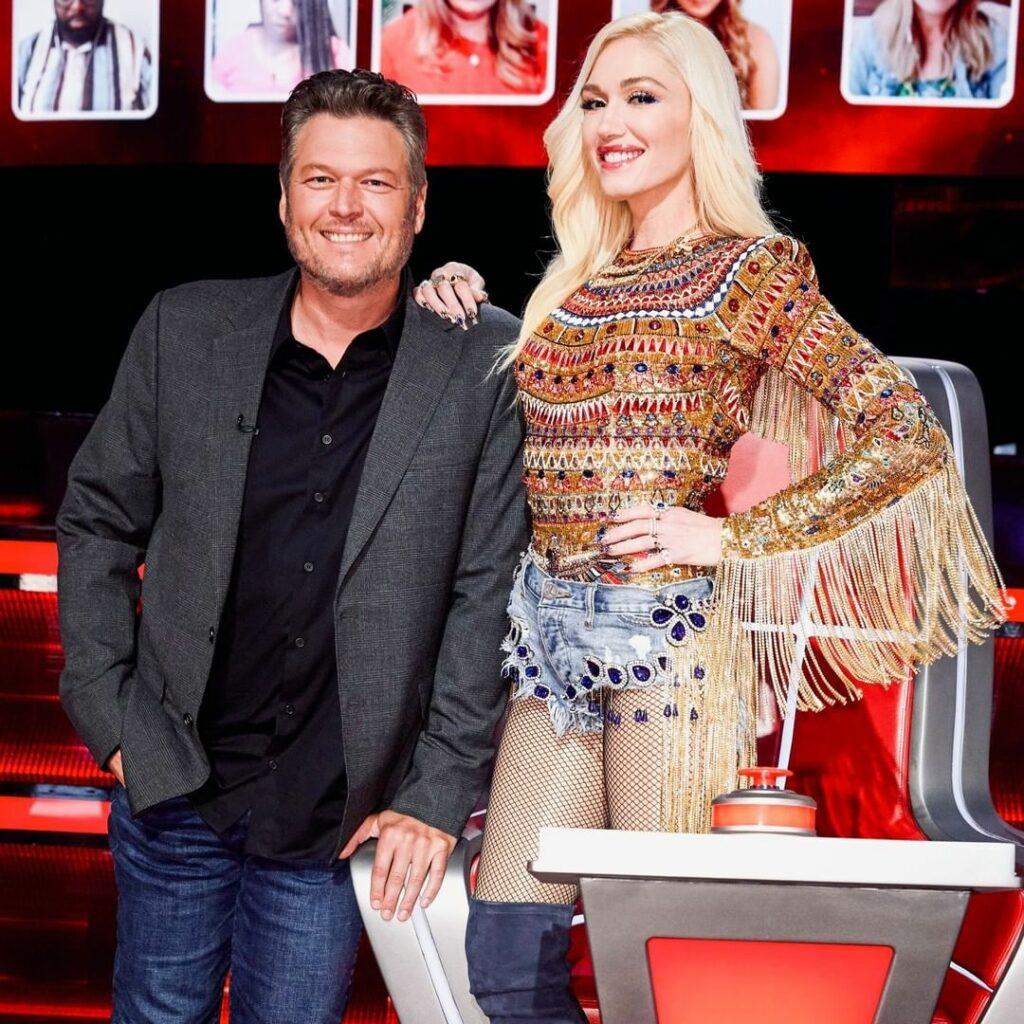 A photo of Blake Shelton and Gwen Stefani at 'The Voice.'