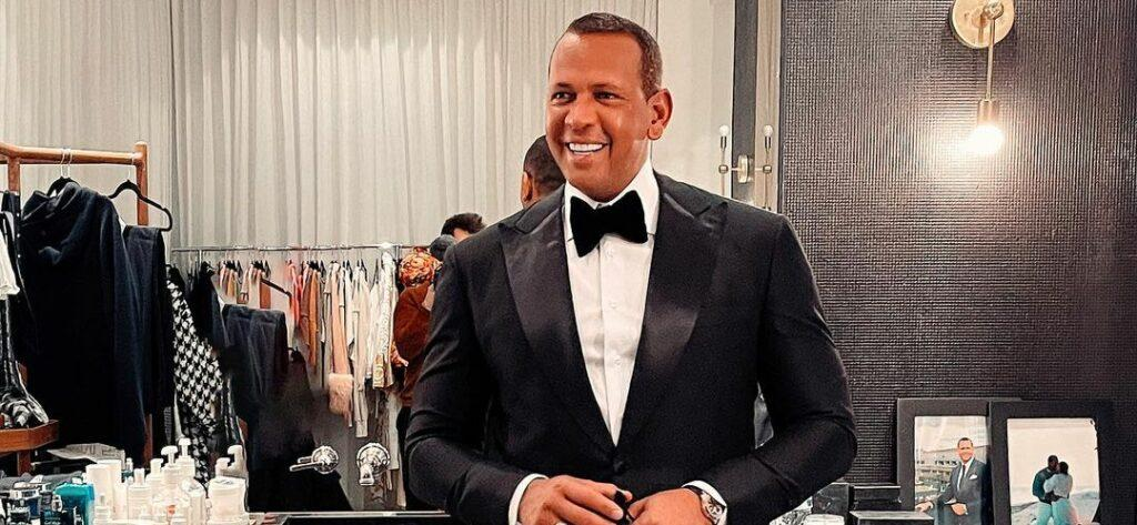Alex Rodriguez wearing a black tux and bow