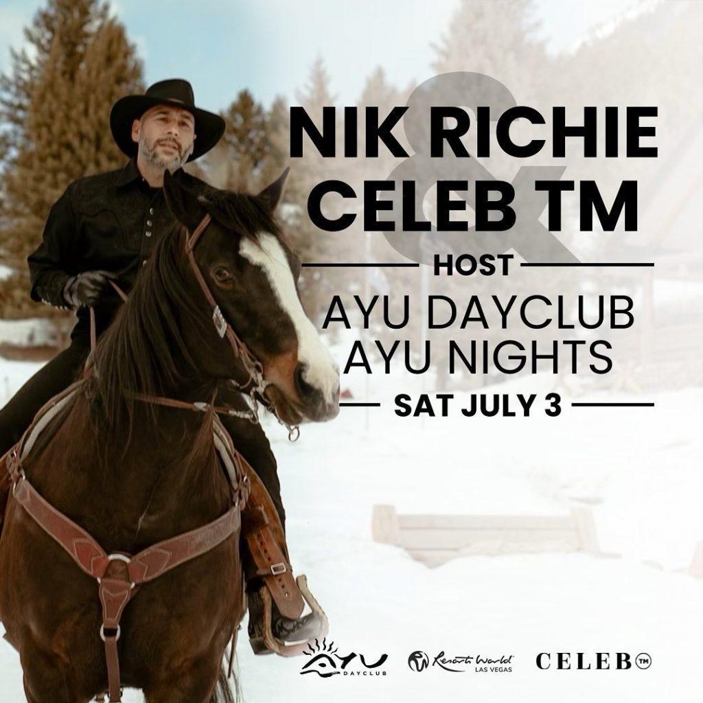Nik Richie riding horse in snow