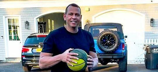 alex rodriguez with basketball
