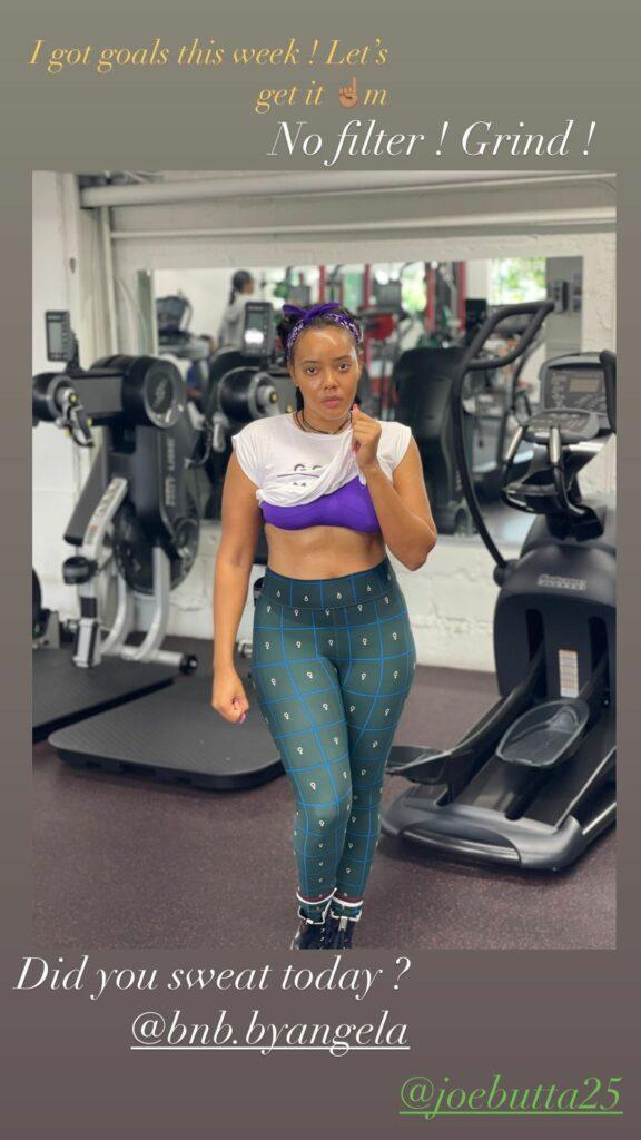 Angela Simmons in the gym on July 5 2021.