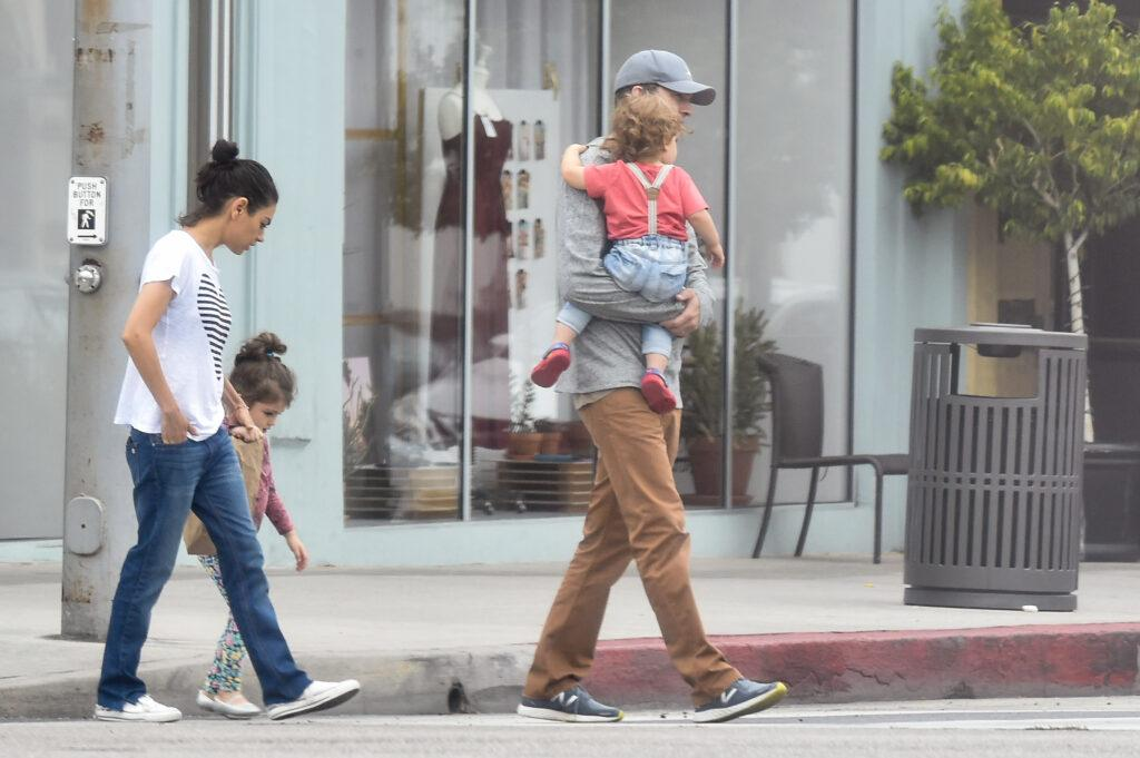 Mila Kunis and Ashton Kutcher with their two kids