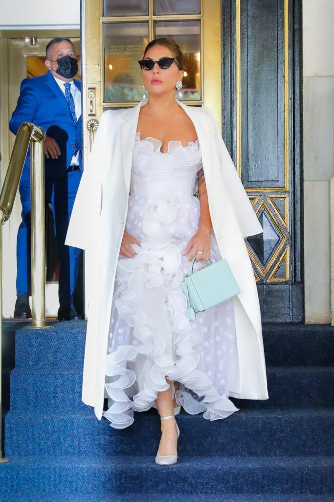 Lady Gaga seen wearing a white outfit as leaving her hotel in NYC