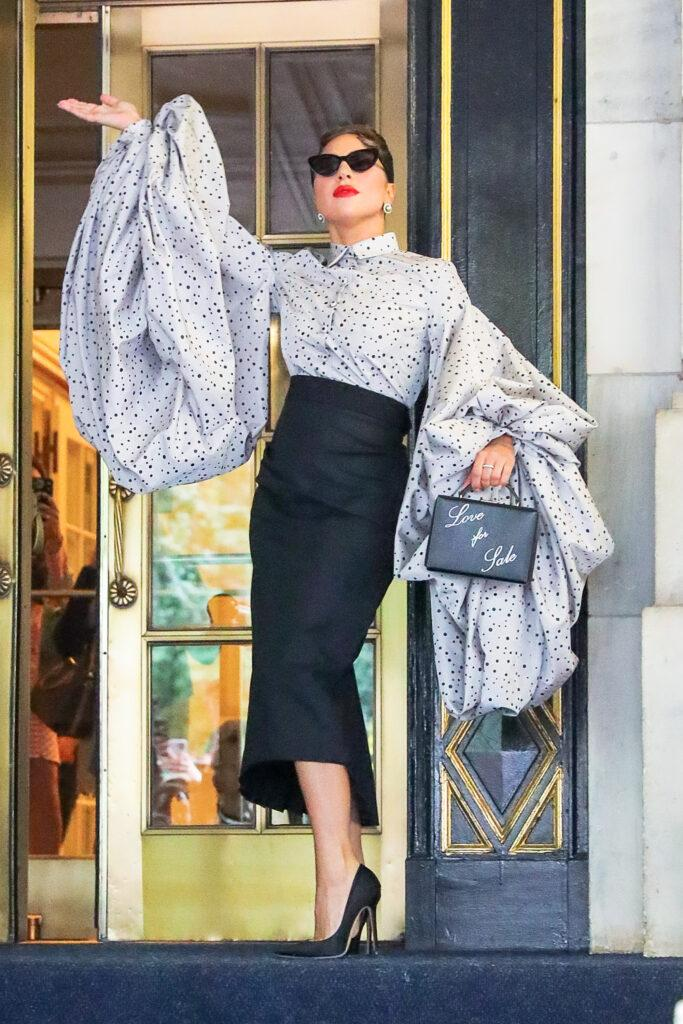 Lady Gaga seen posing outside the Plaza Hotel in New York City