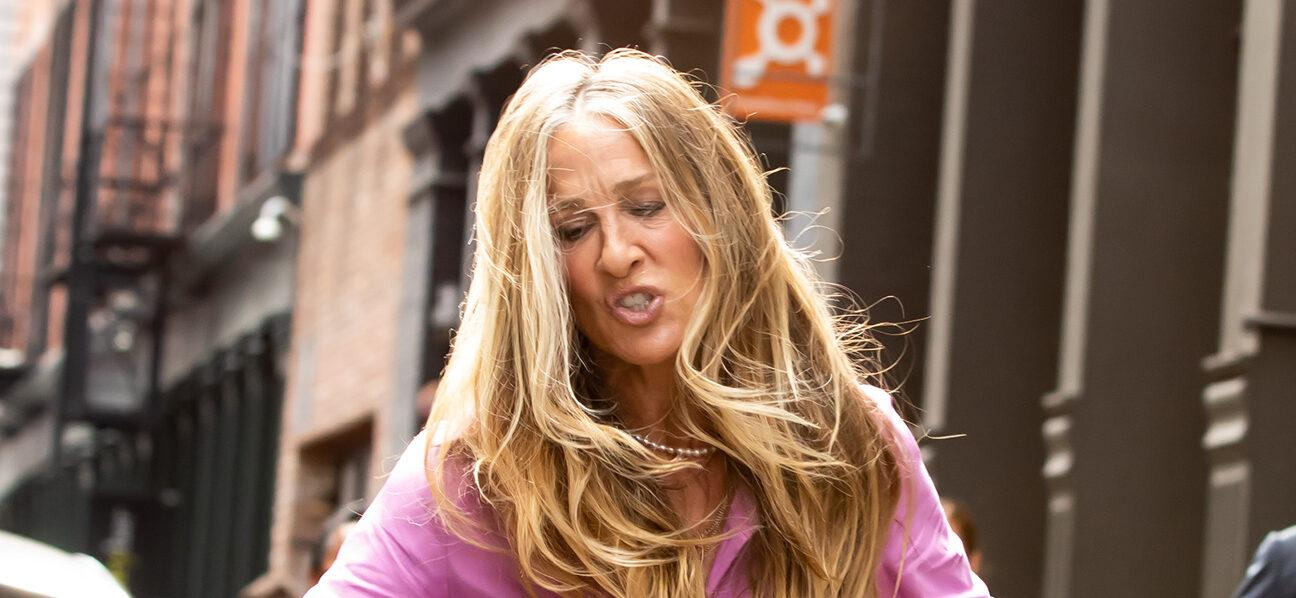 Sarah Jessica Parker Drops Her Purse In The Gutter While Filming NYC Scene
