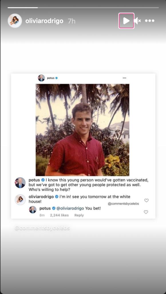 Olivia Rodrigo's Instagram story