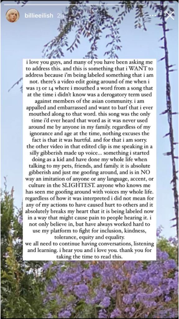Billie Eilish's apology
