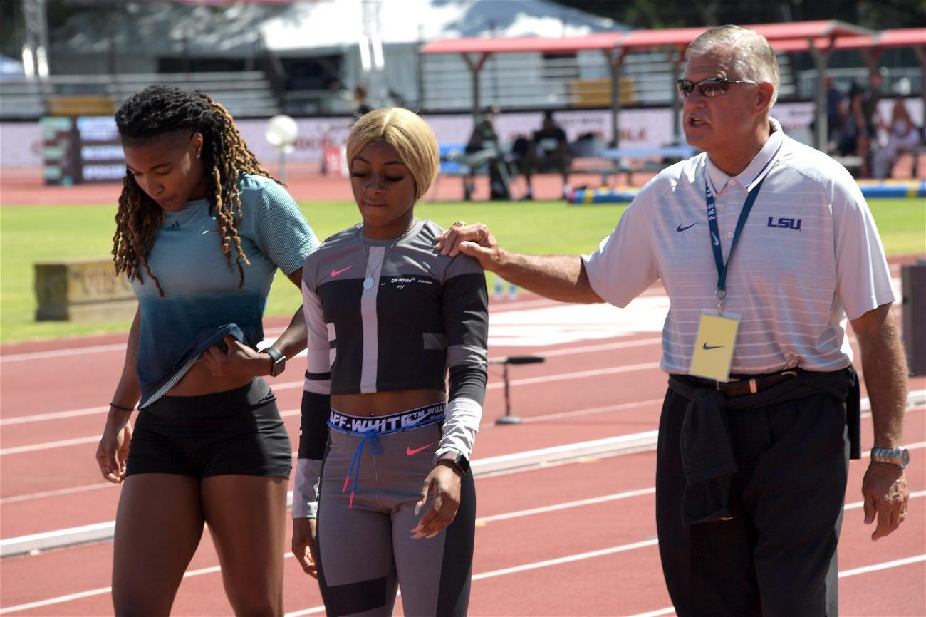 Sha'Carri Richardson with LSU coach