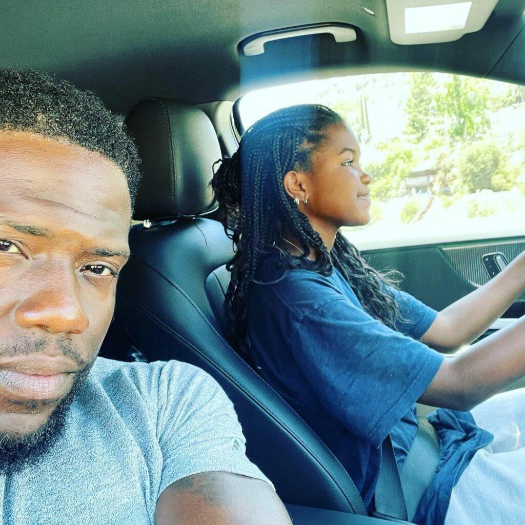 Kevin Hart and his daughter, Haven, driving.