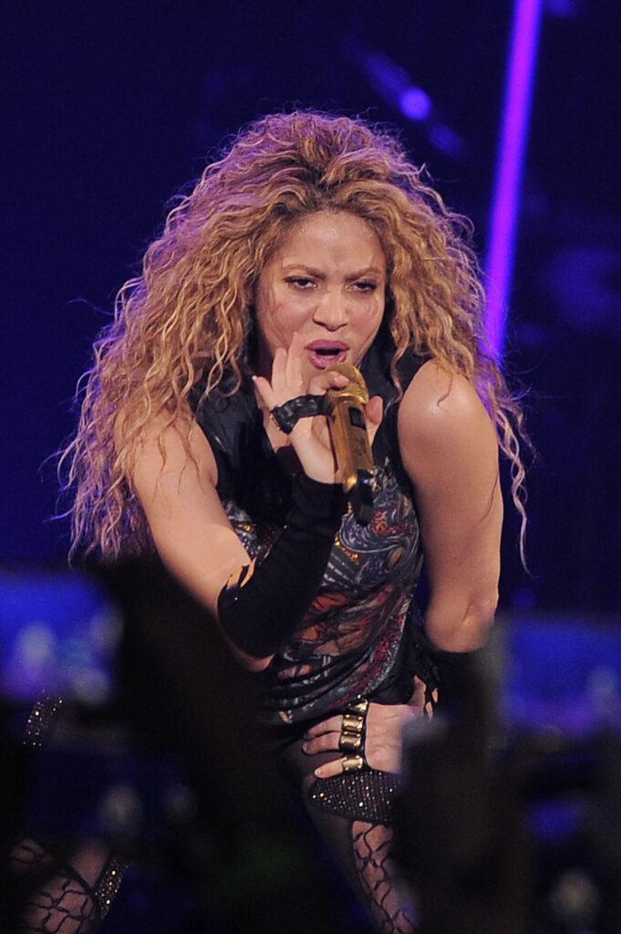 Shakira performing at the O2 Arena