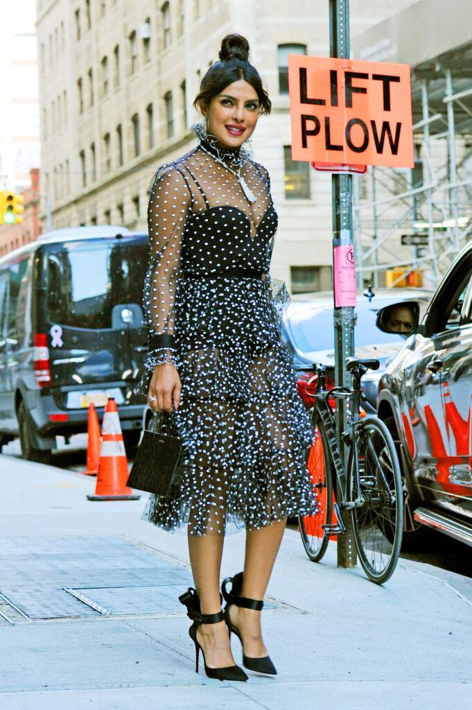 Priyanka Chopra steps out in a see through polka dot dress