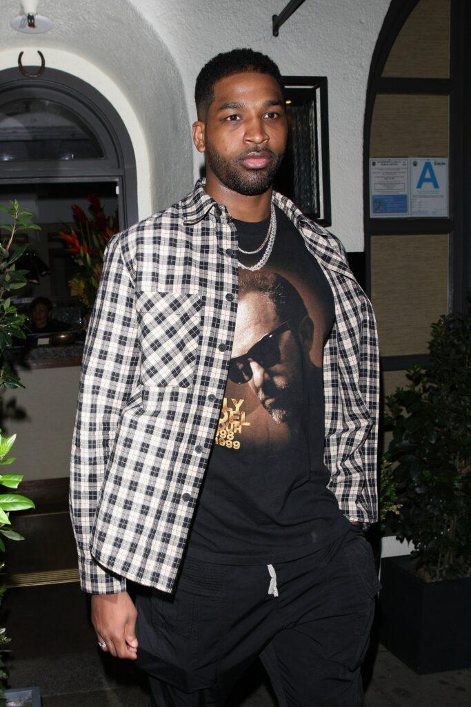 Tristan Thompson is seen leaving Madeo restaurant after having dinner with friends