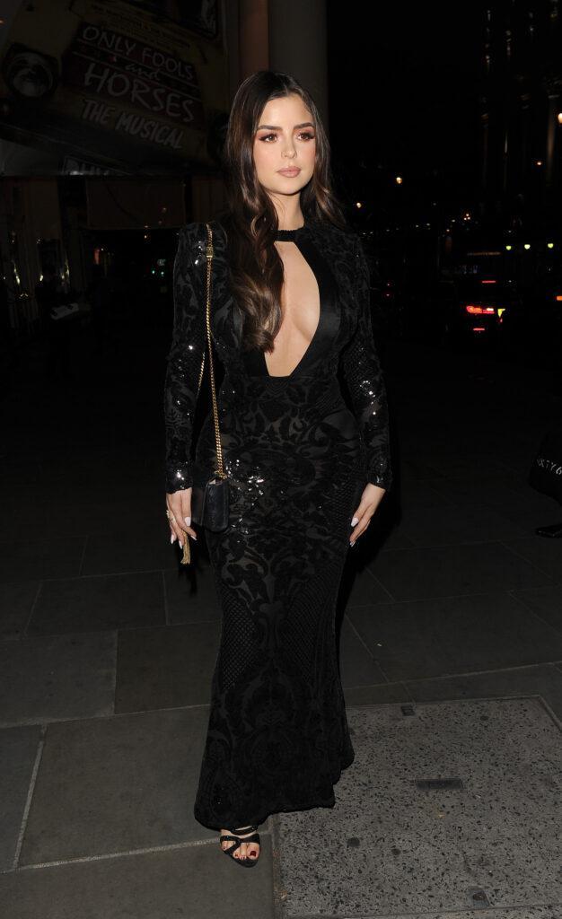 Demi Rose arriving for dinner in Mayfair