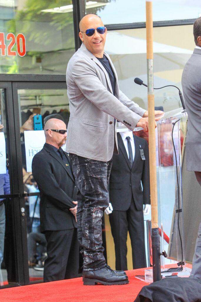 Vin Diesel outside F Gary Gary Hollywood Walk of Fame Star Ceremony