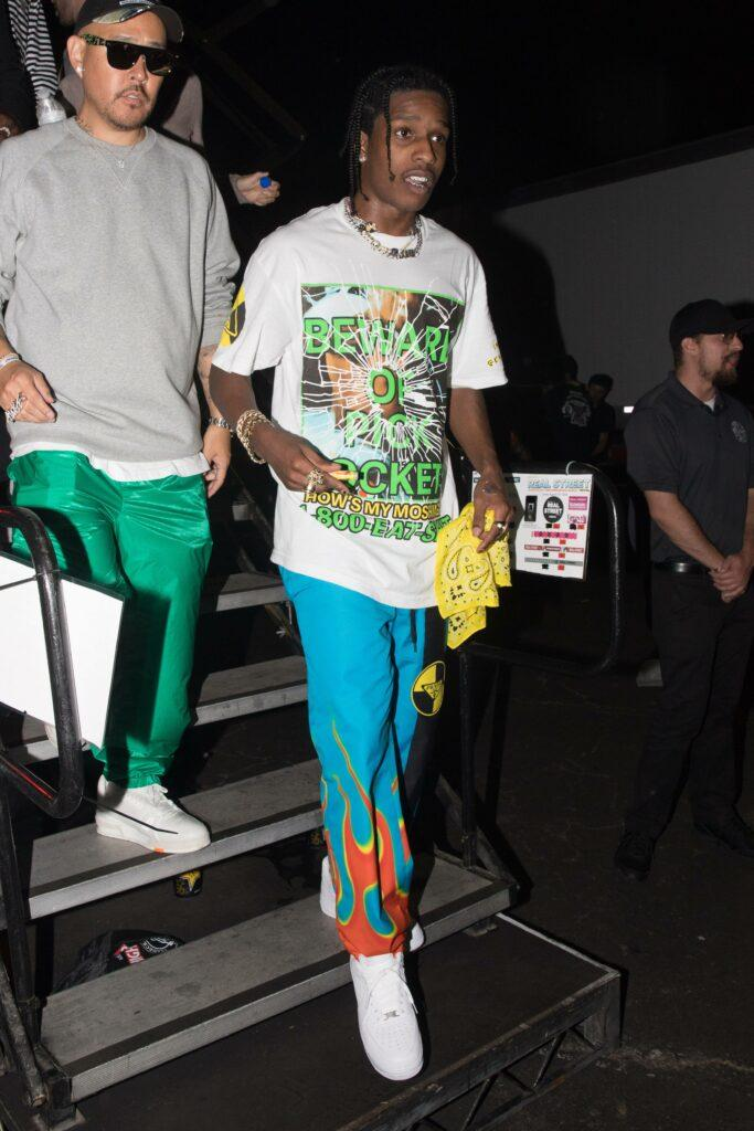 ASAP Rocky is seen arriving to his first performance since bing released from jail in Sweden at The Street Fest 92 3 in Anaheim