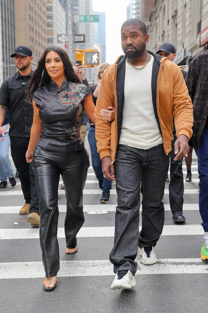 Kim Kardashian and Kanye West seen all smiling while walking around in Midtown NYC on Oct 25 2019