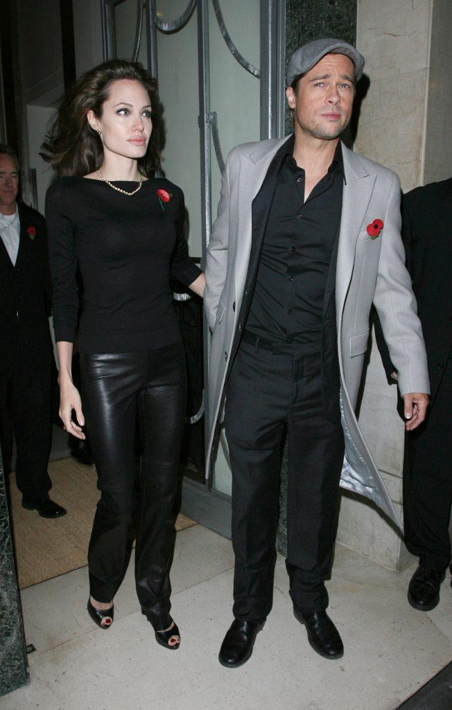 Angelina Jolie and Brad Pitt leaving Claridge apos s hotel in Mayfair and heading to the UK premiere of apos Beowulf apos
