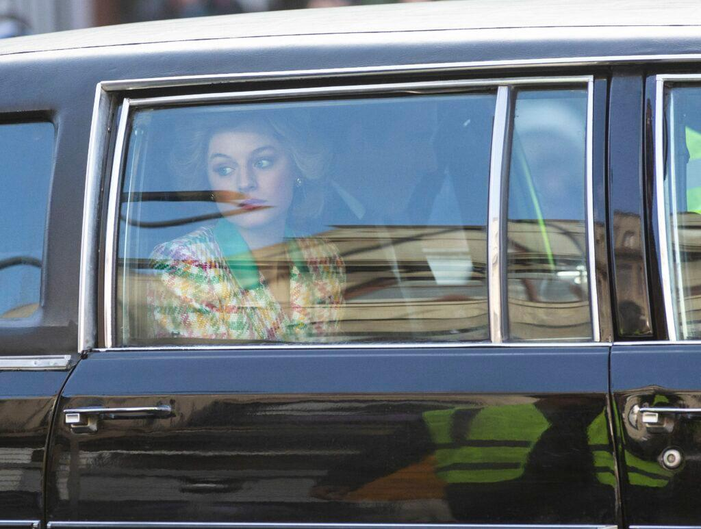 Emma Crorrin who is playing Princess Diana arrives on set to start the filming of The Netflix hit show The Crown