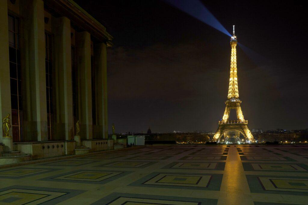 General view of empty streets by night in Paris during epidemy as the city imposes a confinement to combat the Coronavirus