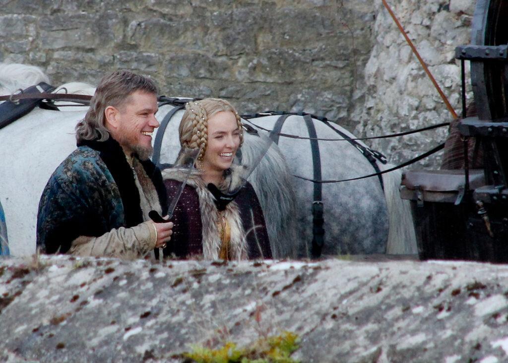 Matt Damon and Jodie Comer seen on set of the Last Duel in Ireland