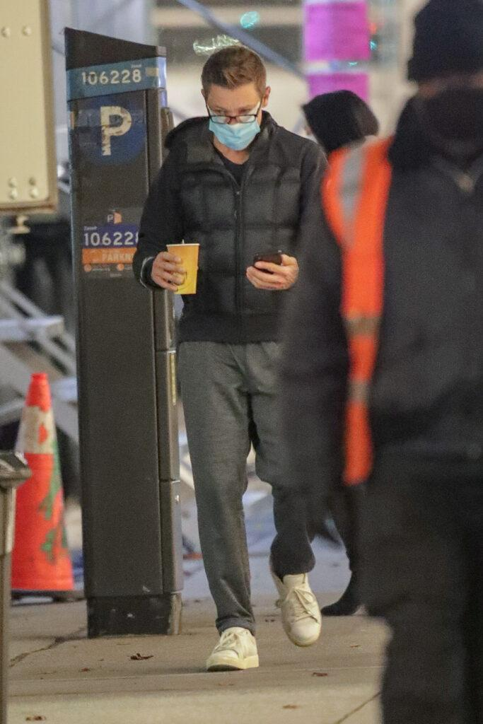 Hailee Steinfeld and Jeremy Renner seen heading to the hair and makeup trailer in NYC