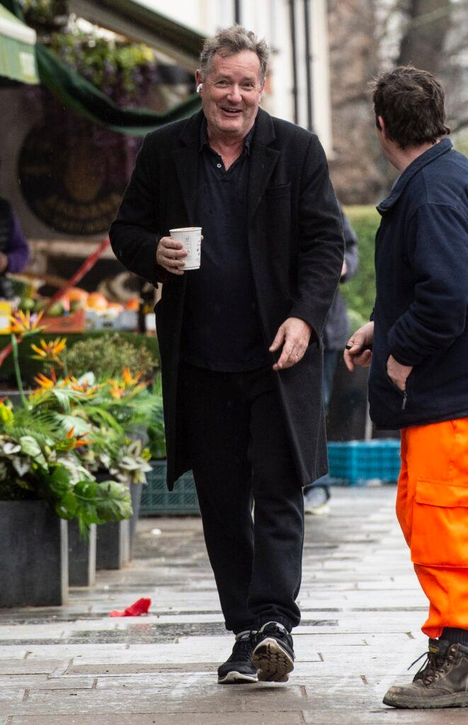 Former GMTV presenter Piers Morgan seen leaving and returning to his home this morning after dropping his daughter Elise aged 8 to school on March 10 2021 in London England