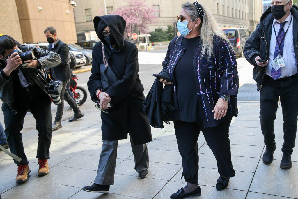 Isabel Maxwell leaves a court where her sister Ghislaine pleaded not guilty on Friday to new charges of sex trafficking for her former boyfriend Jeffrey Epstein