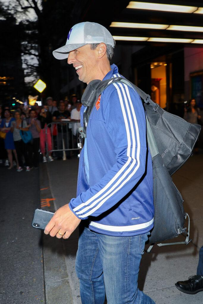 Seth Meyers seen all smiling while leaving the NBC studios in NYC