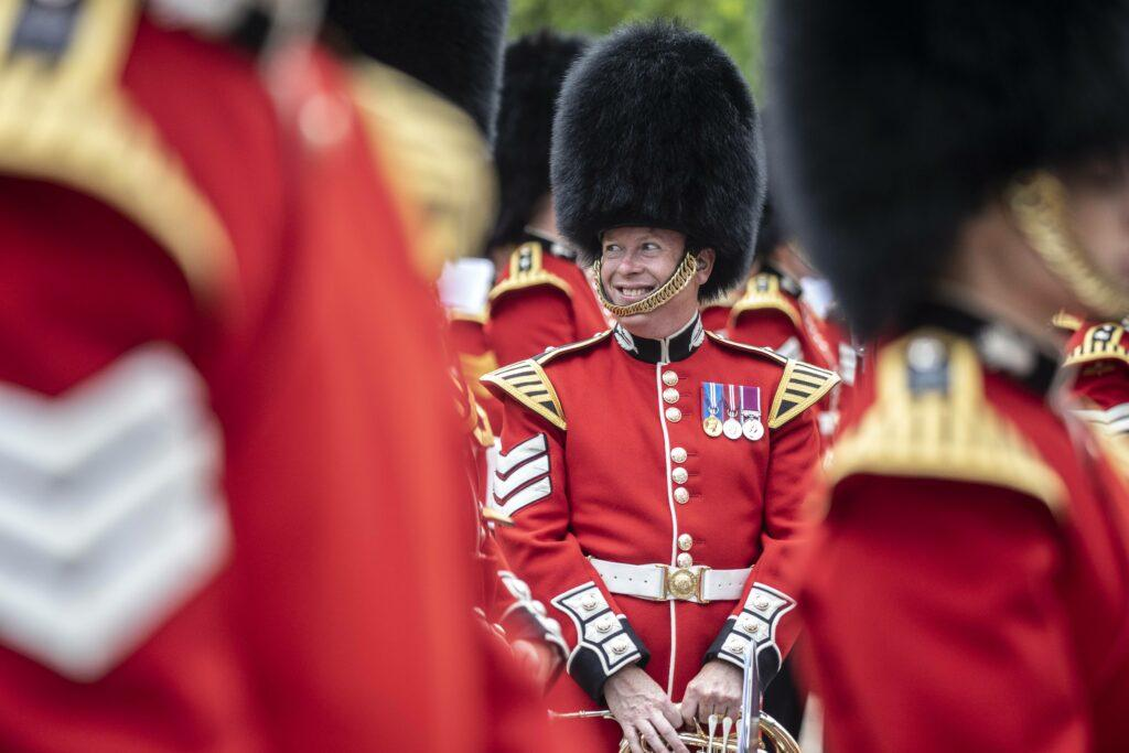 15 07 2021 The massed bands of the Grenadier Coldstream Scots Irish and Welsh Guards and representatives from the 1st Battalion Grenadier Corps of Drums parade in Wellington barracks as they rehearse their musical programme from quot The Sword