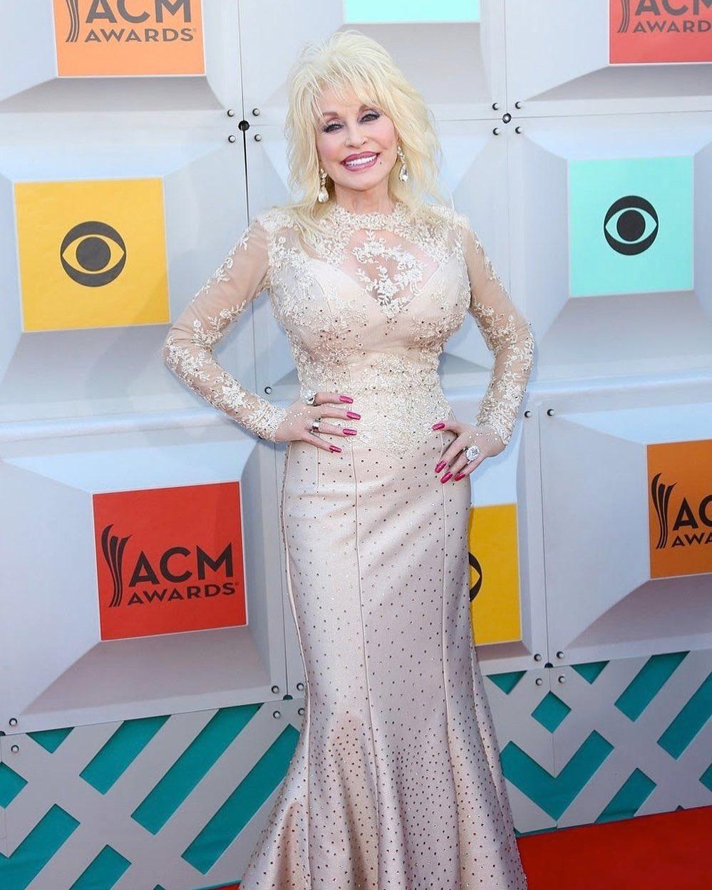 Dolly Parton looks incredible in this net dress at an event