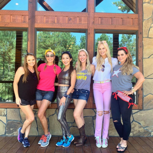 A photo showing the cast of 'Real Housewives of Dallas' in yoga outfits.