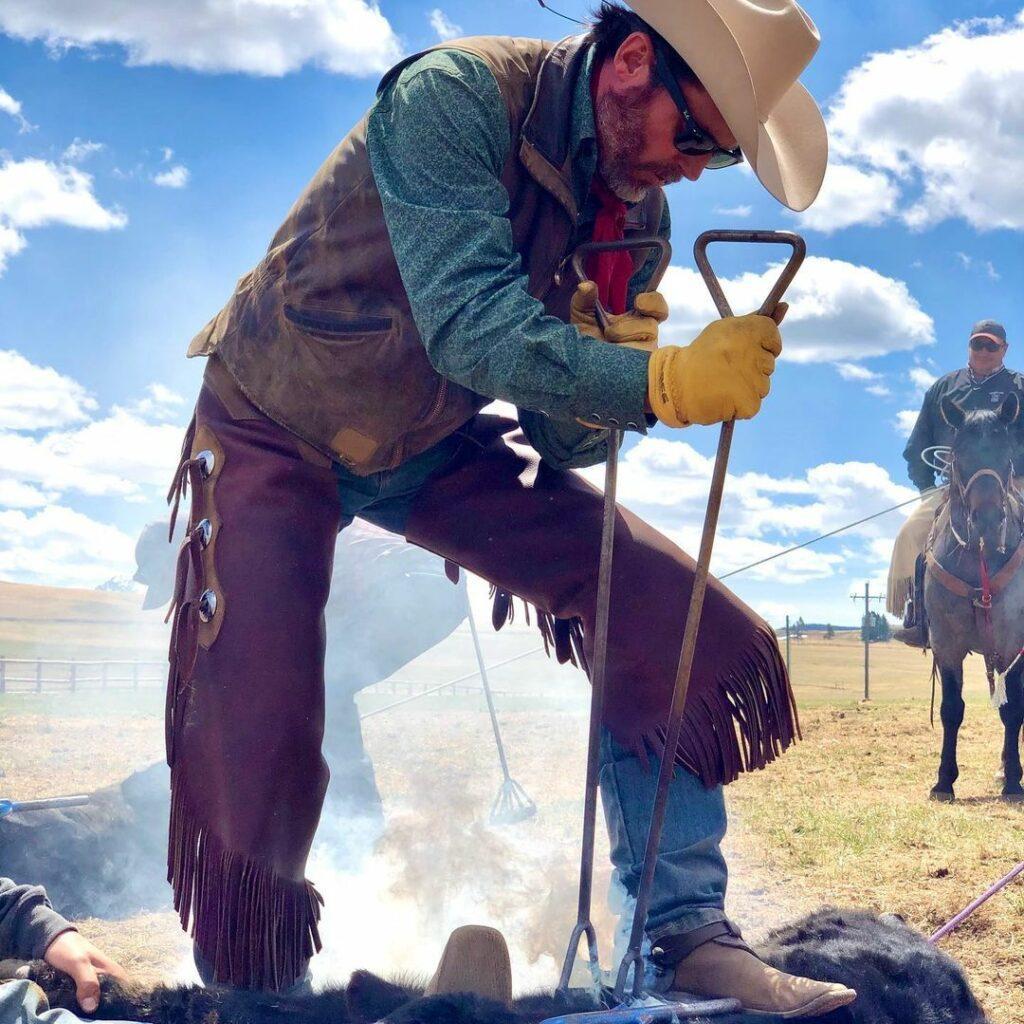 Brandon Blackstock working on the Montana ranch, Kelly Clarkson's ex-husband.