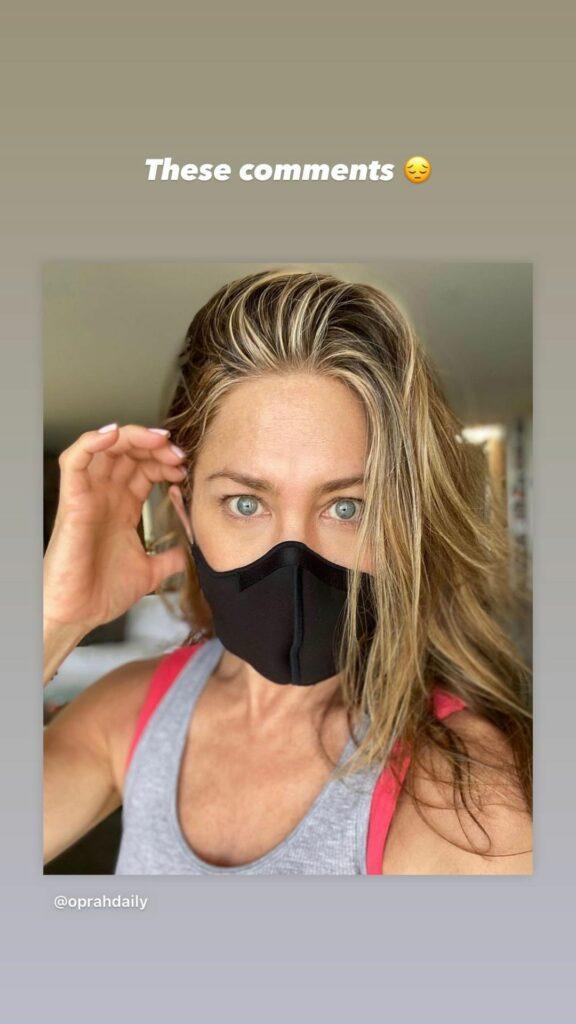 Jennifer Aniston in a mask