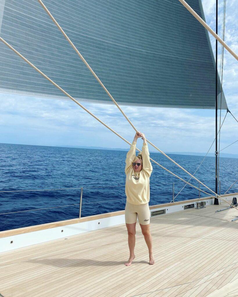 Rebel Wilson on a sailboat.