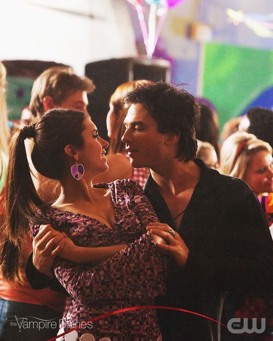A photo showing Nina Dobrev and Ian Somerhalder dancing