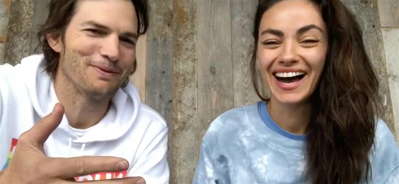 Ashton Kutcher & Mila Kunis Joke About Bathing Their Kids In New IG Post