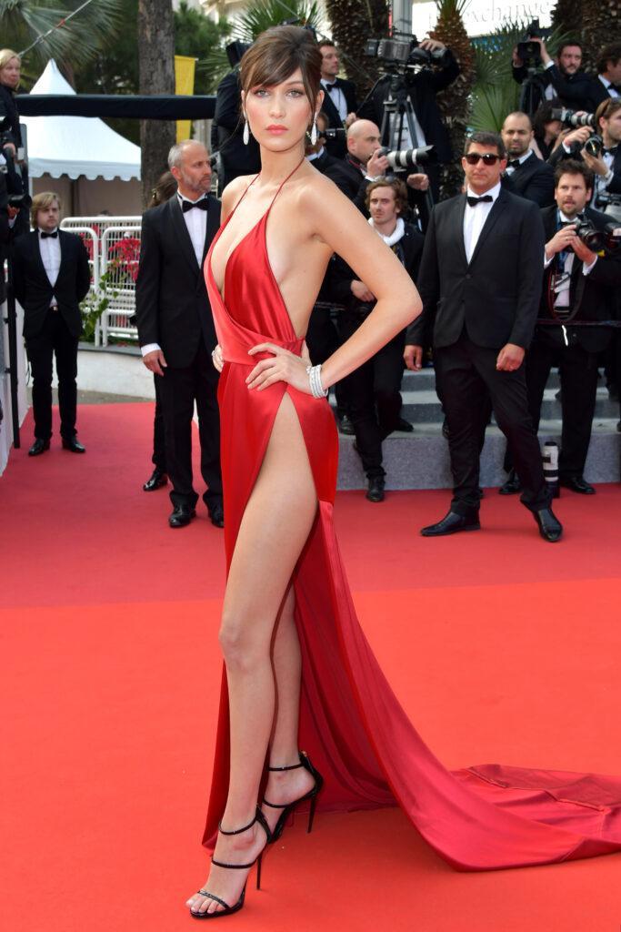 Bella Hadid wearing a red dress