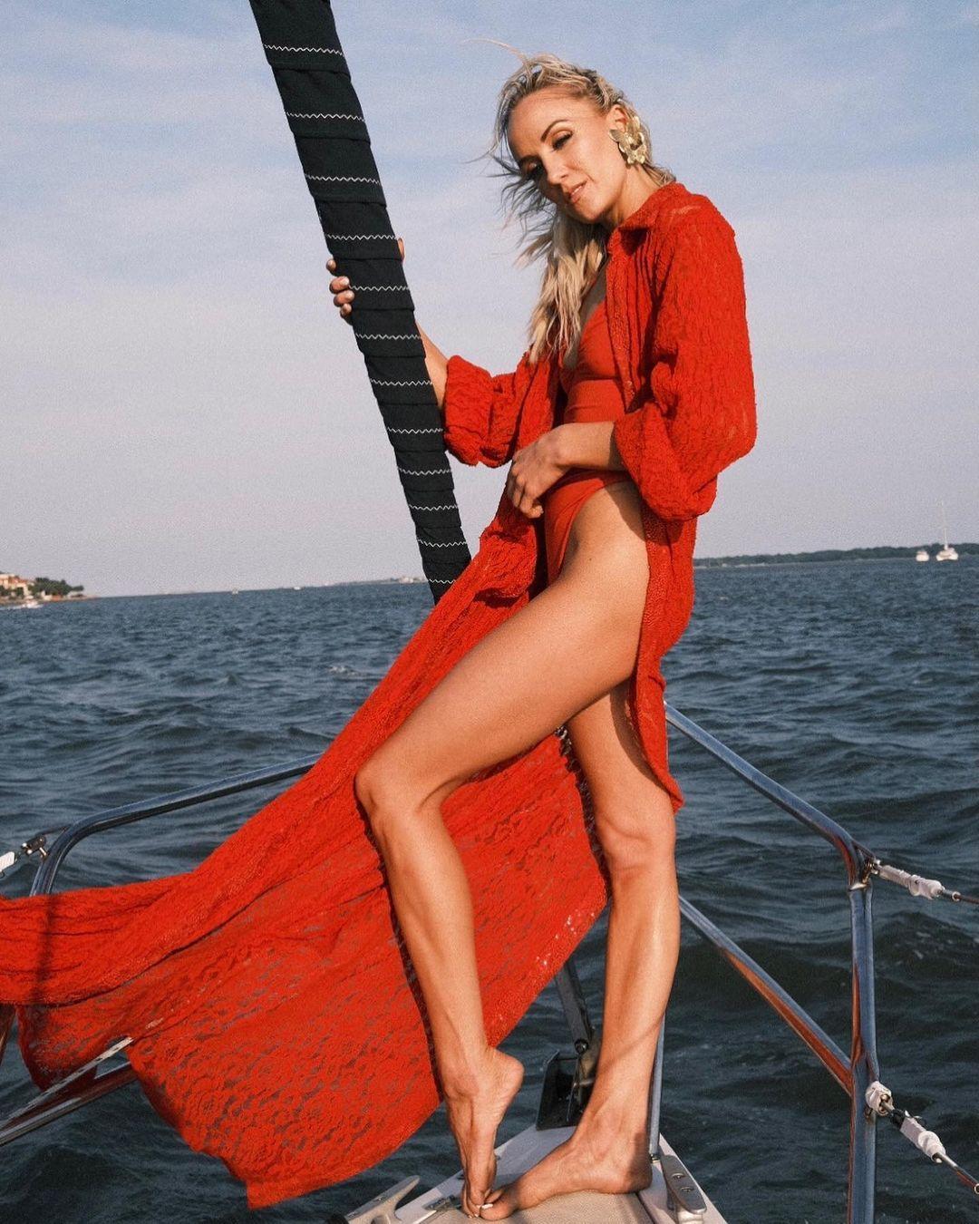 Nastia Liukin Crushes In Fire Engine Red Bikini!