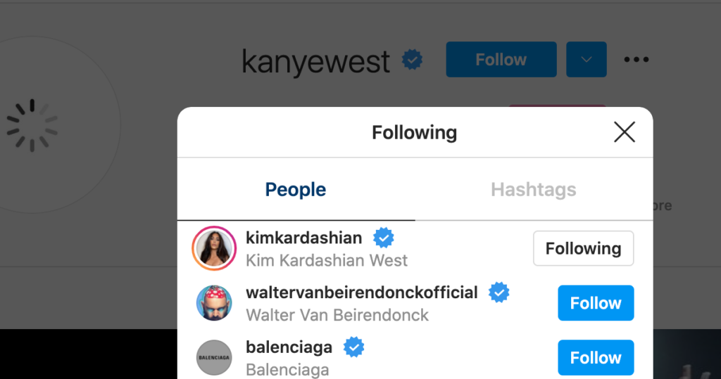 Kanye West's following on Instagram