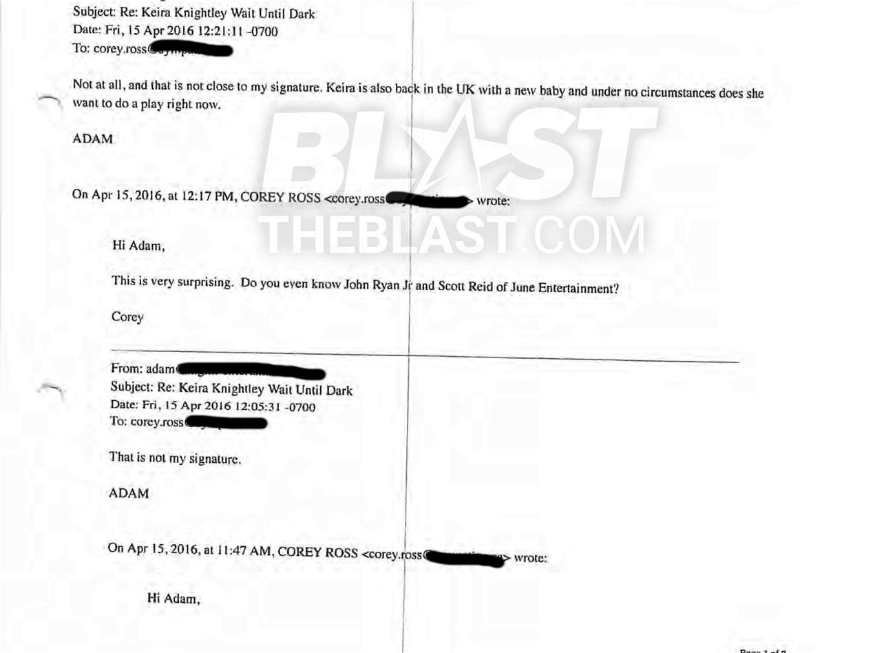 Keira Knightley's agent Adam Isaacs' email